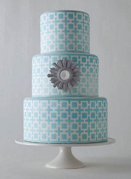 آلبوم عکس کیک عروسی به رنگ آسمان
