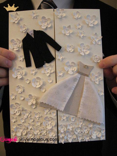 آلبوم کارت عروسی با تم لباس عروس داماد