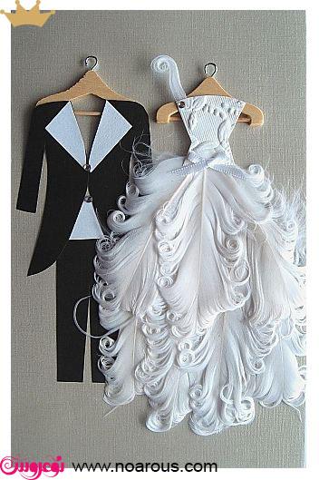 آلبوم کارت عروسی با تم عروس داماد لباسِ پَر