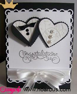 آلبوم کارت عروسی با تم عروس داماد قلب و پاپیون
