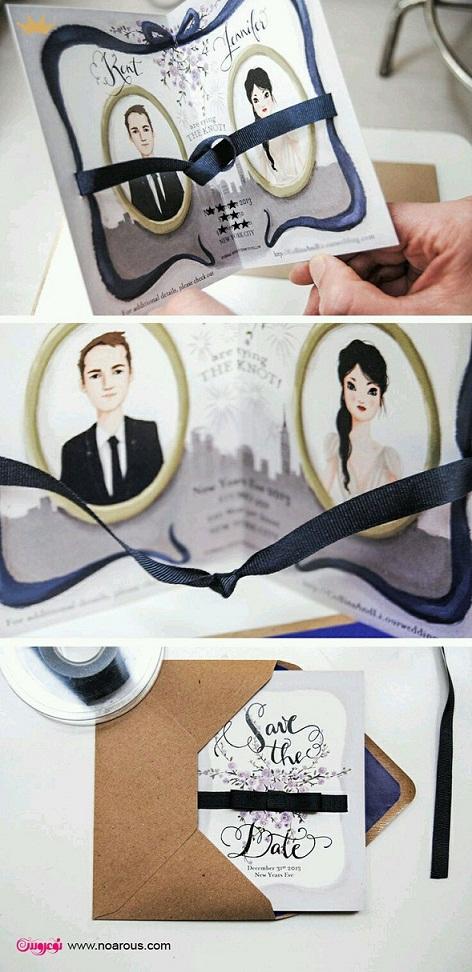 آلبوم کارت عروسی با تم عروس داماد نقاشی