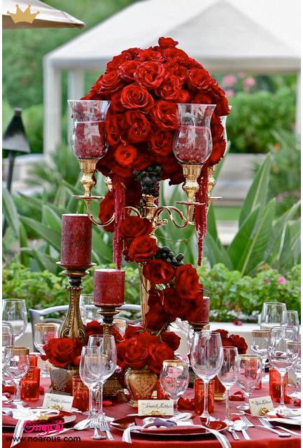 گل آرایی مراسم عروسی با رز قرمز