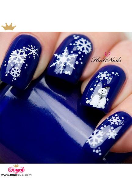 دیزاین  زمستانی و برفی ناخن ها