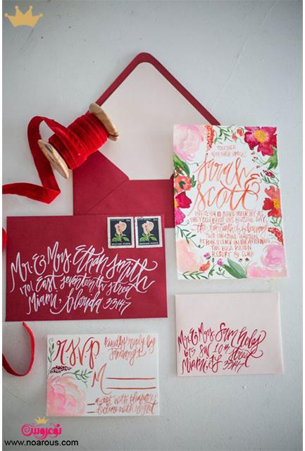 کارت عروسی دست ساز با تم قرمز