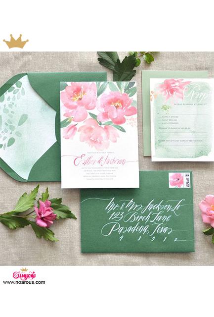 کارت عروسی دست ساز با تم سبز و صورتی