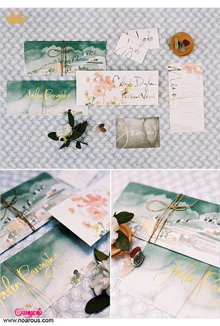 کارت عروسی دست ساز آبرنگی