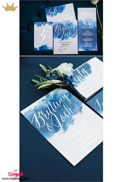 کارت عروسی دست ساز آبرنگ آبی