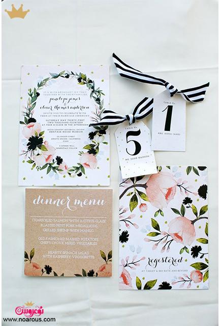 کارت عروسی دست ساز با تم سفید و گلدار