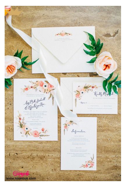 کارت عروسی دست ساز گوشه گلدار