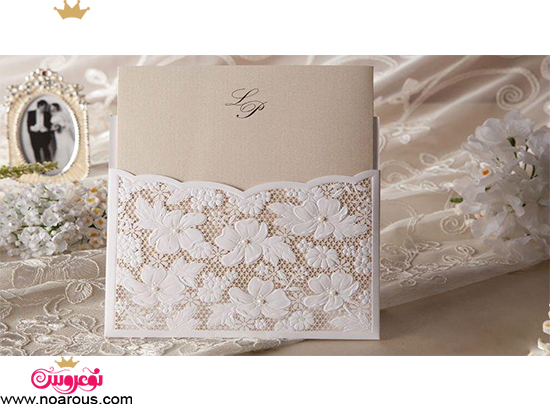 کارت عروسی دست ساز طرح گیپور