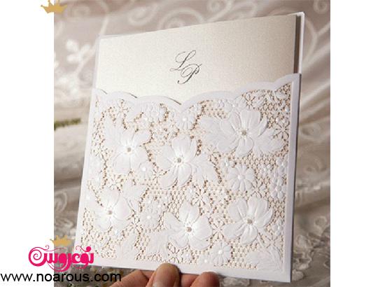 کارت عروسی دست ساز با طرح گیپور 2