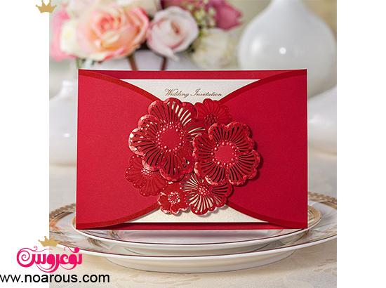 کارت عروسی دست ساز با تم گل گیپوری قرمز