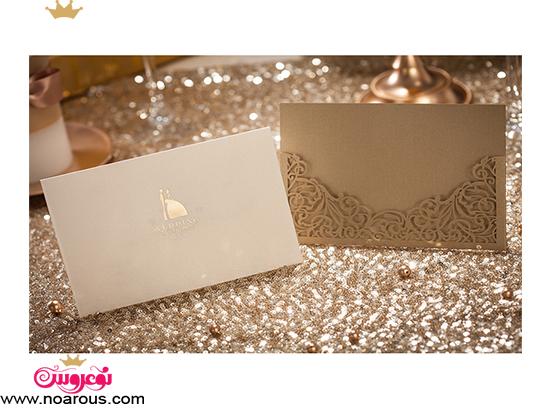 کارت عروسی دست ساز سفید نسکافه ای