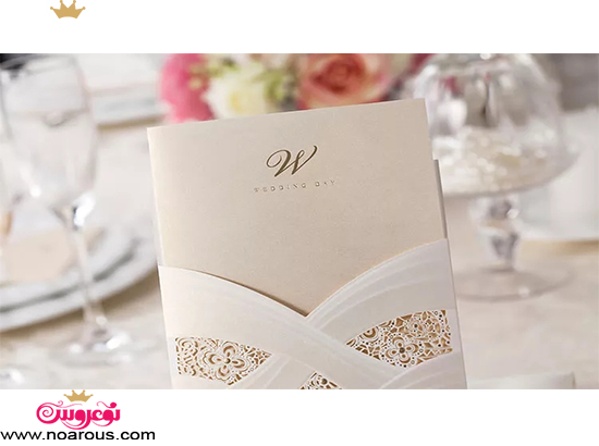 کارت عروسی دست ساز طرح گیپور ساده