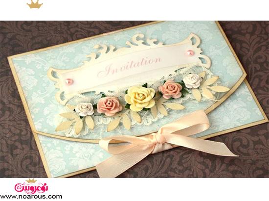 کارت عروسی دست ساز با گل چینی