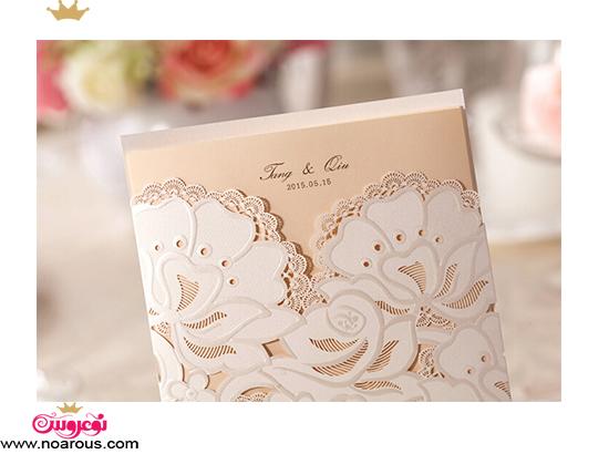 کارت عروسی دست ساز ساده و گیپوری