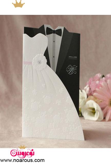کارت عروسی با تم لباس عروس و داماد سفید و مشکی
