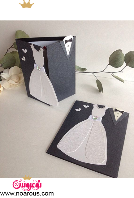 کارت عروسی با تم لباس عروس و داماد