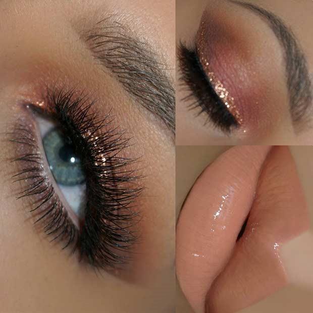 آرایش چشم رزگلد برای چشمان آبی رنگ