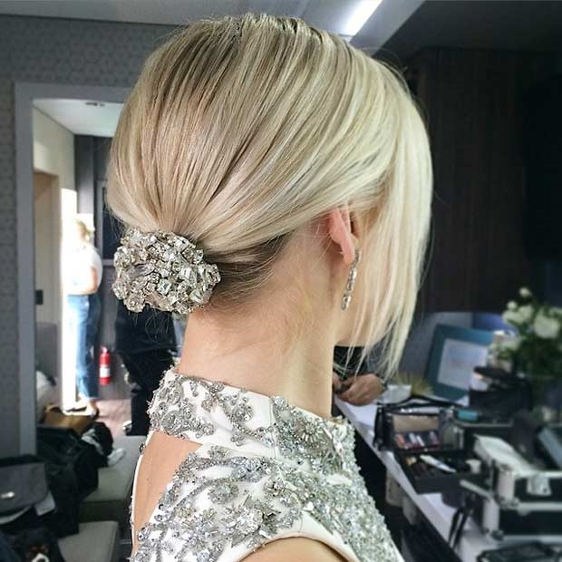 مدل موی عروس جمع ساده با سنگ های پر زرق و برق