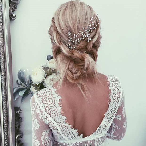 مدل موی عروس جمع ساده با یک گل سر