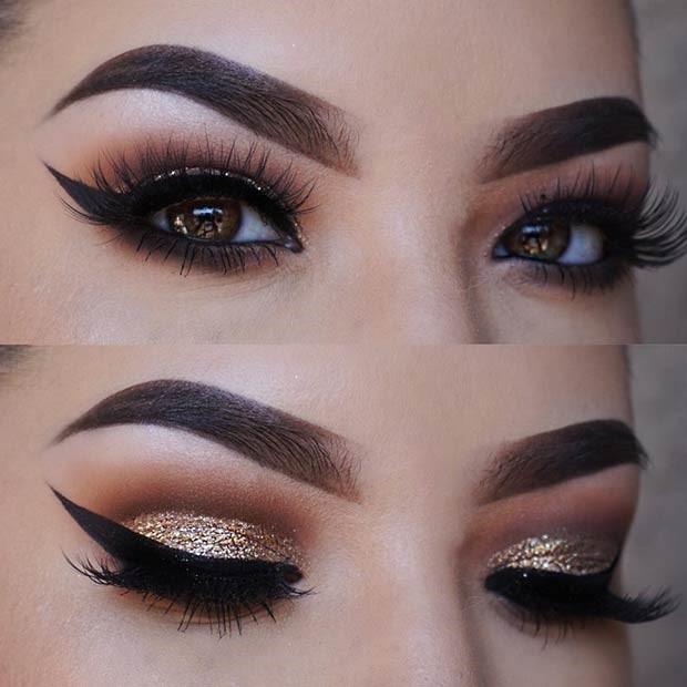 آرایش چشم طلایی براق