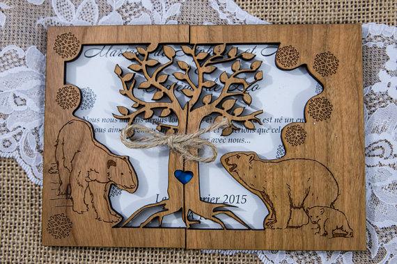 کارت عروسی چوبی طرح خرس قطبی