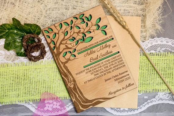 کارت عروسی چوبی طرح درخت