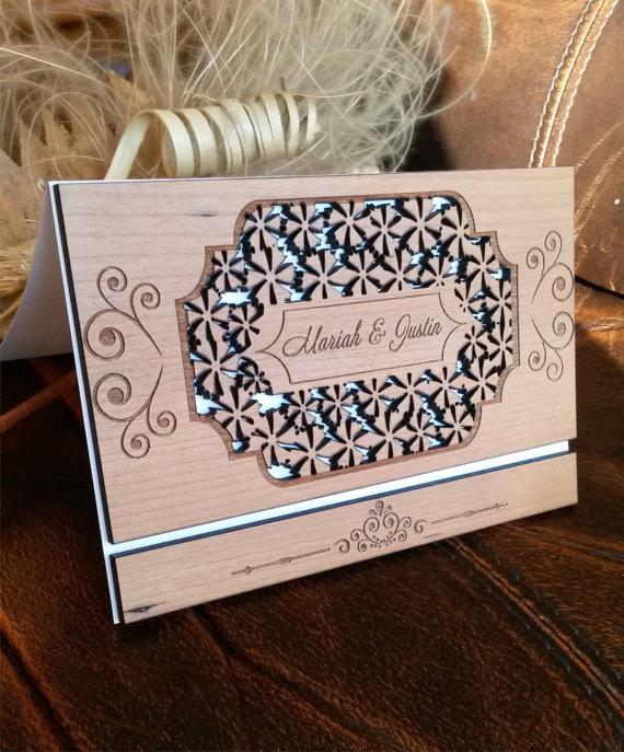 کارت عروسی چوبی گل گلی