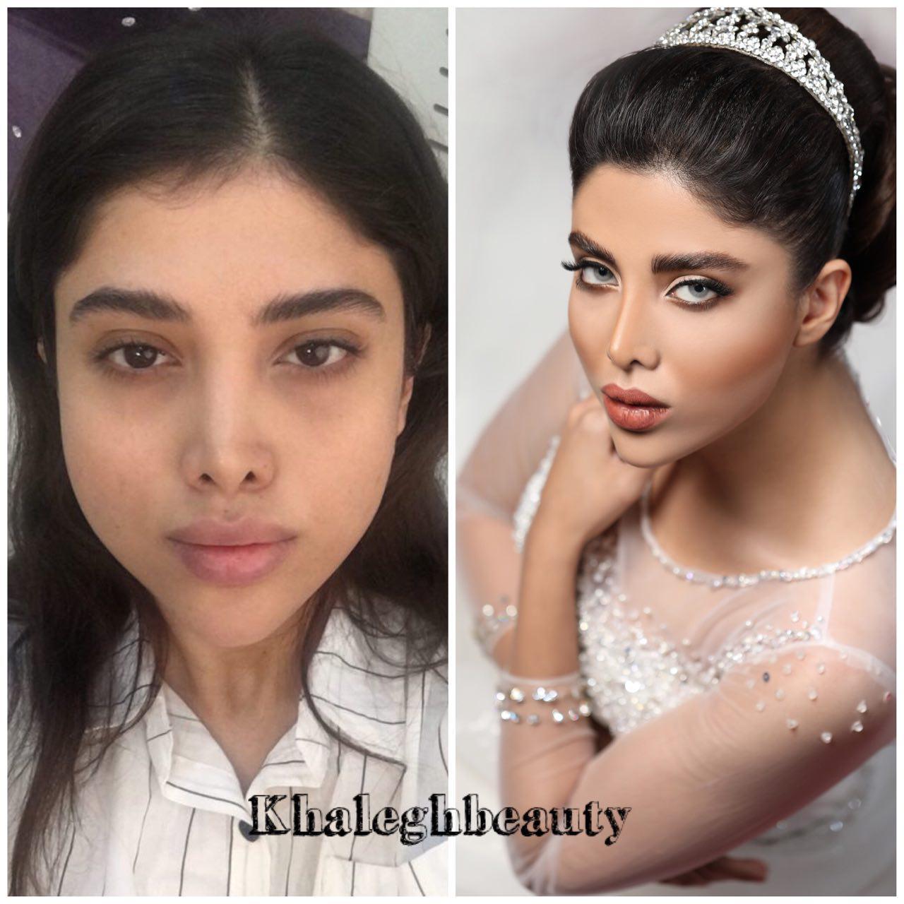 سالن آرایش عروس خالق | قبل و بعد از میکاپ