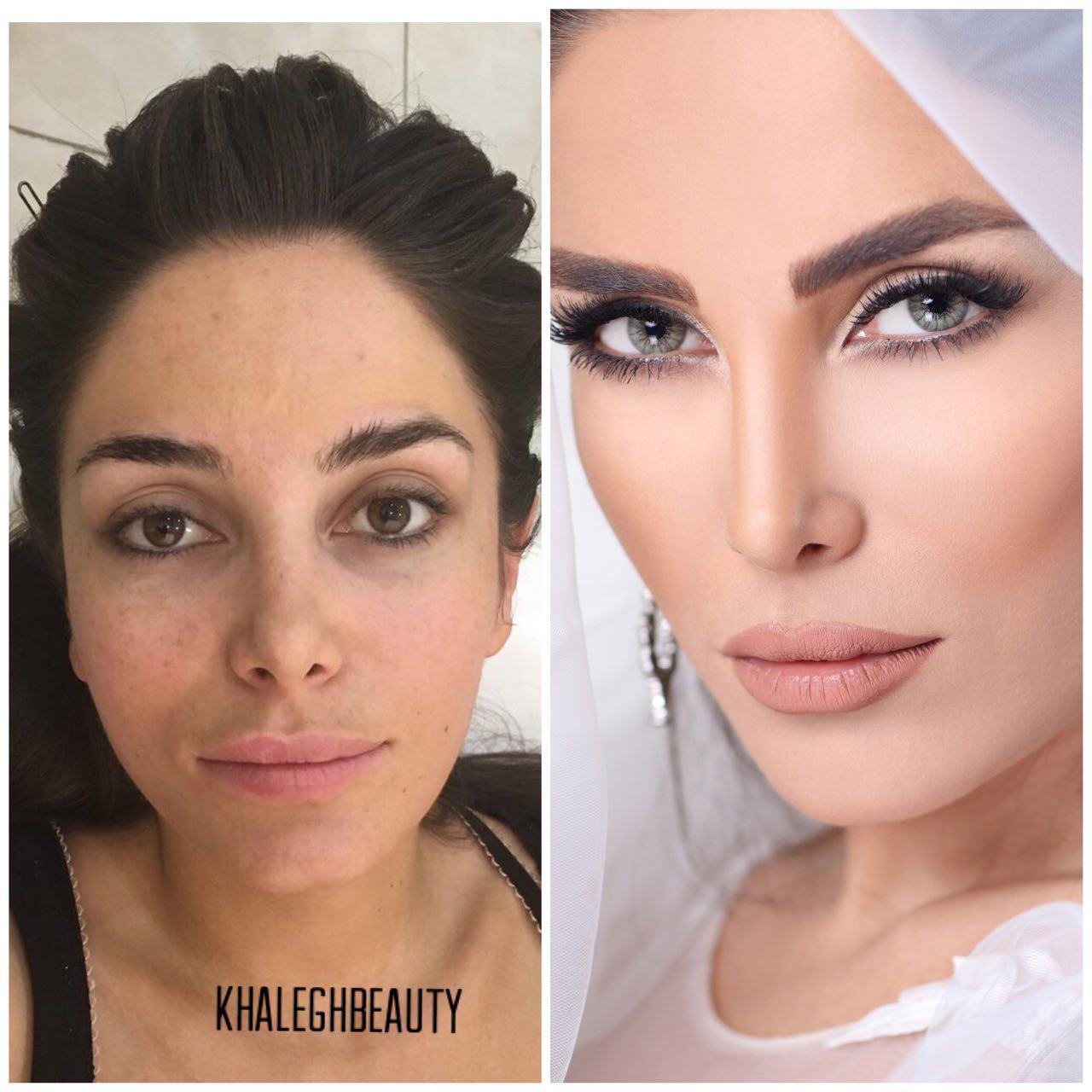 سالن آرایش عروس خالق | میکاپ قبل و بعد عروس
