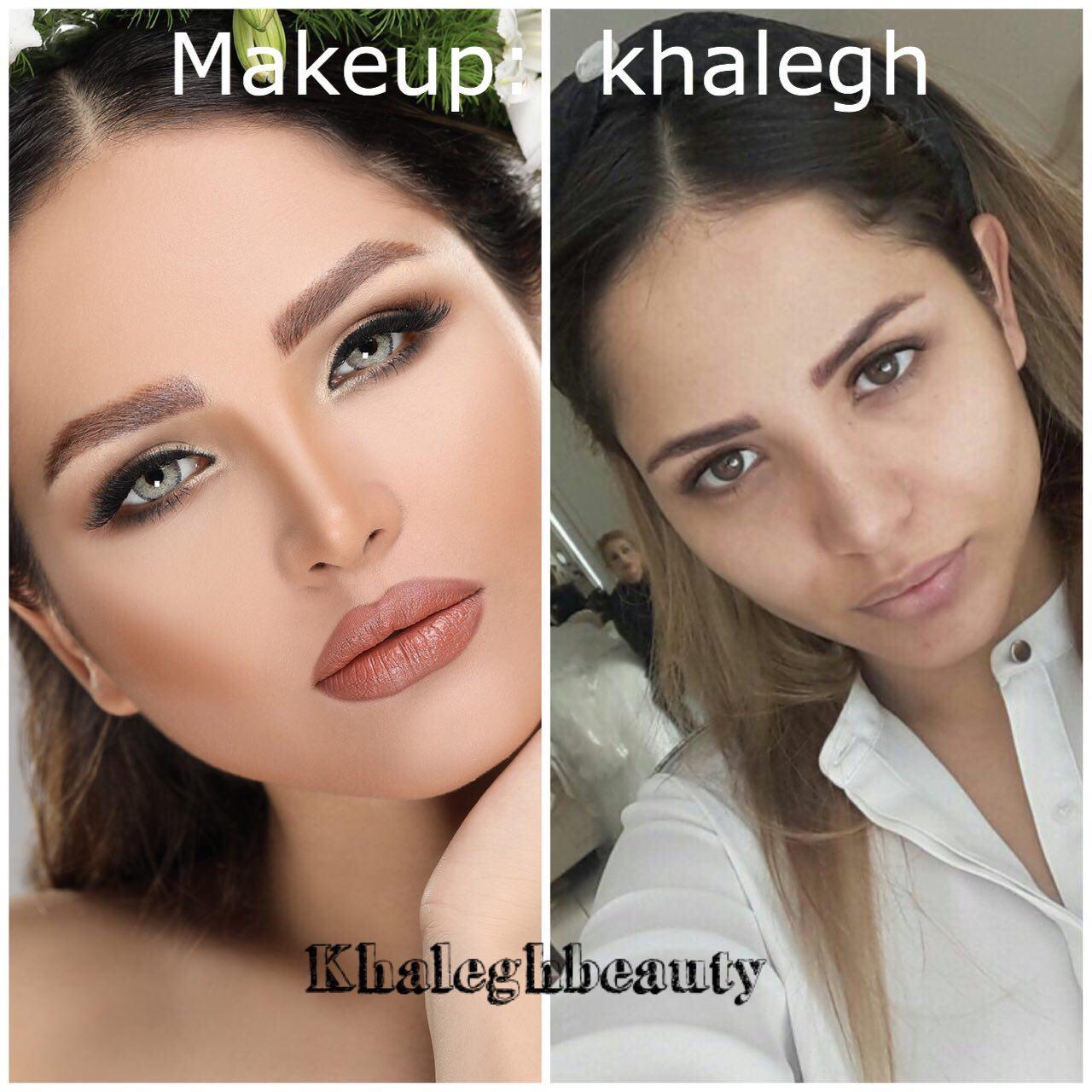 سالن آرایش عروس خالق | میکاپ قبل و بعد